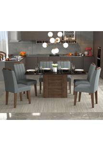 Conjunto De Mesa De Jantar Rafaela Com 6 Cadeiras Elisa Linho Marrocos E Platina