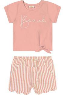 Conjunto Infantil Blusa Com Shorts Rosa