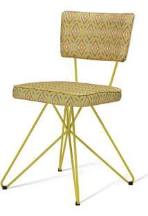 Cadeira Pop Retro Estampa Eye Base Estrela Amarela - 49605 - Sun House