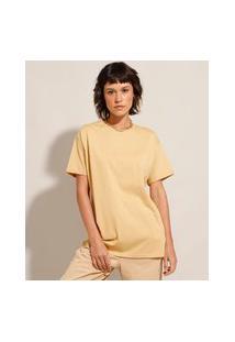 Camiseta Longa Básica Manga Curta Gola Careca Bege