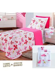 Kit Dourados Enxovais Combo Cobre Leito Jogo De Banho Butterfly Pink Solteiro 07 Peças Dupla Face 150 Fios