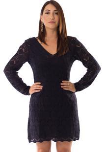 Vestido Urban Lady Em Tricô Azul Marinho