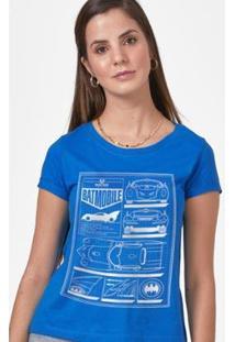 Camiseta Batman Moldura Batmóvel Blueprint Feminina - Feminino-Azul