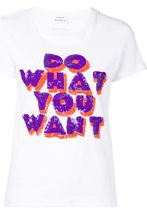 P.A.R.O.S.H. Camiseta Do What You Want Com Paetês - Branco