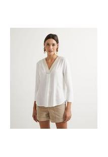 Camisa Manga 3/4 Com Bordado No Decote | Marfinno | Branco | G