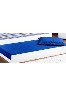 Cobre Leito Prático Solteiro Azul Royal Matelado Com 2 Peças - Aquarela