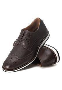Sapato Brogue Couro Confort Tchwm Shoes Café