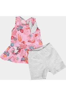 Conjunto Infantil Hello Kitty Bata E Bermuda - Feminino