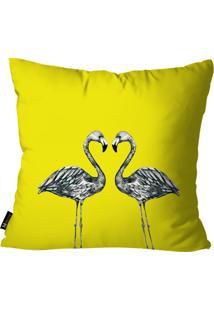 Capa Para Almofada Mdecor Flamingos Amarelo