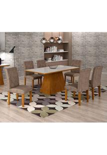 Conjunto De Mesa De Jantar Luna Com 6 Cadeiras Ane Suede Animalle Imbuia, Branco E Chocolate