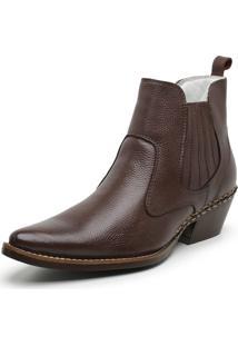 Botina Masculina Bico Fino Anaconda Country Jna Shoes Couro Amassado