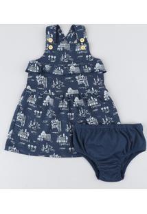 Salopete Infantil Estampada Com Babado + Calcinha Azul Marinho
