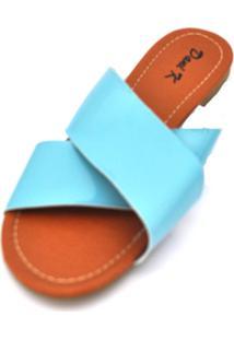 Rasteira Dani K Modelo X Verniz Azul Celeste