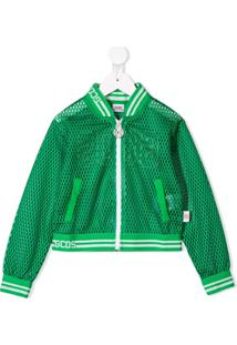 Gcds Kids Perforated Zipped Bomber Jacket - Verde