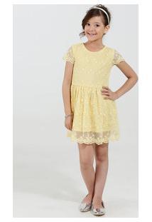 Vestido Infantil Tule Bordado Manga Curta Marisa