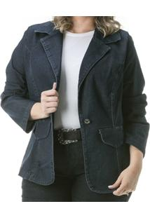 Blazer Confidencial Extra Plus Size Jeans Black Feminino - Feminino