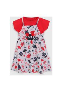 Vestido Elian Infantil Monstrinhos Cinza/Vermelho
