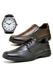 2 Pares Sapato Social Fashion Com Relógio New Brinde Dubuy 231-232El Preto