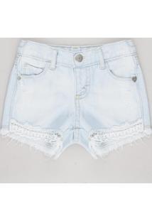 Short Jeans Infantil Com Bolso Barra Desfiada Azul Claro