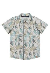 Camisa Infantil Menino Tropical Bege - Alakazoo