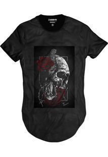 Camiseta Di Nuevo Swag Caveira E Rosas Vermelhas Street Wear Preta