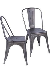 Jogo De Cadeiras De Jantar Retrô- Bronze- 2Pçs- Or Design