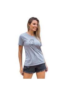 Camiseta Feminina Mirat Rosa De Linhas Mescla