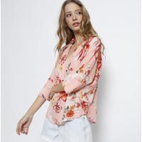94dad5c6cbdc Blusa Floral Com Manga Morcego- Rosa Claro & Vermelhalez A Lez