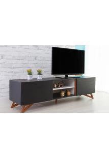 Rack Para Tv Preto Moderno Vintage Retrô Com 2 Portas Preta Freddie - 180X43,6X48,5 Cm