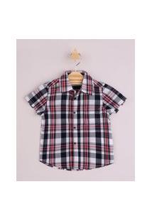 Camisa Infantil Estampada Xadrez Com Bolso Manga Curta Vermelha