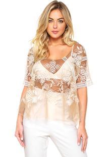Blusa Colcci Comfort Nude/Branca