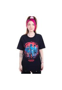 Camiseta Plus Size Dupla Face Stranger Things Personagens Preto