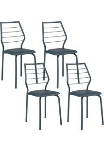 Cadeira 1716 Cromada 04 Unidades Azul Noturno Carraro