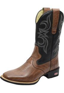 Bota Texana Country Atron Shoes Bico Quadrado 1916 Couro Latego Café / Preto