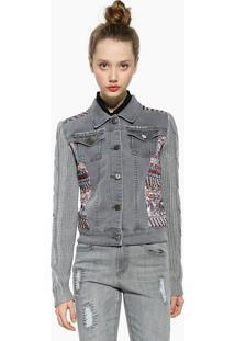 Jaqueta Jeans Desigual Recortes Cinza