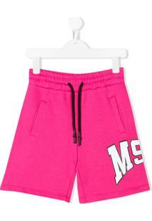 Msgm Kids Palm Tree Motif Logo Shorts - Rosa