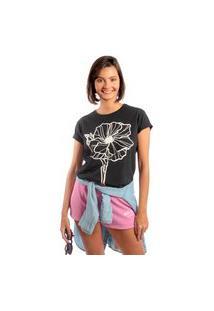Camiseta Feminina Mirat Flower Line Preto