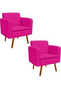 Kit 02 Poltrona Decorativa Emília Suede Pink - D'Rossi