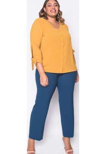 Camisa Almaria Plus Size Melonica Lisa Amarelo