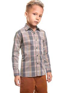 Camisa Infantil Zaiko Xadrez Manga Longa 2043 Cinza.