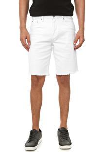 Bermuda Sarja Calvin Klein Jeans Reta Lisa Branca