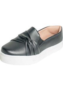 Tenis Hope Shoes Slipper Com Laço Cruzado Preto