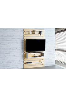 Painel Tv Quarto Standby - Home Suspenso Para Tv Até 45 Polegadas Com Rack Natural E Branco - 100X23X172 Cm