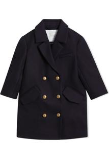 Burberry Kids Crested Button Wool Pea Coat - Azul
