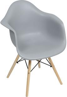 Cadeira Moderna Com Base Em Madeira 1120-Or Design - Cinza