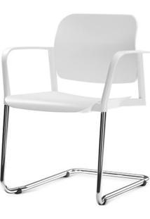 Cadeira Leaf Com Bracos Assento Branco Base Fixa Cromada - 54276 Sun House