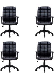 Conjunto Com 4 Cadeiras De Escritório Diretor Premium Fitz Preto