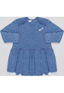 Body Saia Infantil Estampado De Poá Manga Longa Decote Redondo Azul