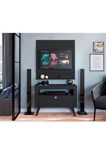 Rack Com Painel Para Tv Até 47 Polegadas Canadá Preto 90 Cm