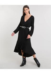Vestido Feminino Midi Open Shoulder Com Babado Manga Longa Preto
